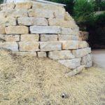 The stone wall at Jail Hill Inn