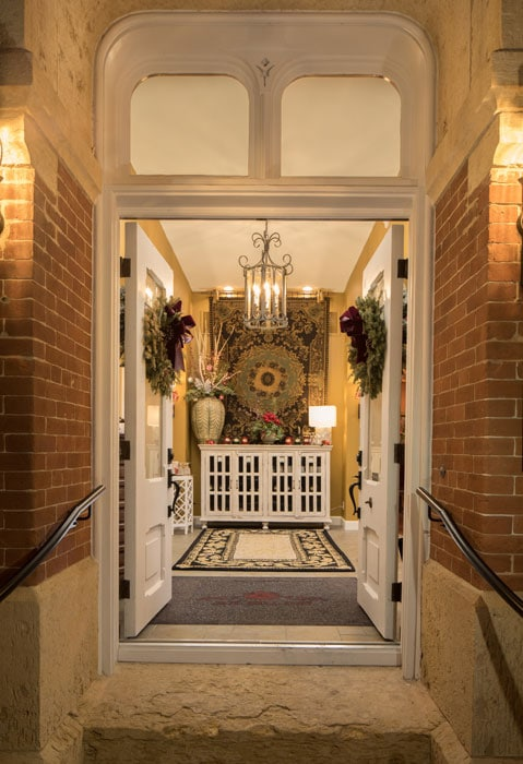 Jail Hill Inn, Galena, Illinois, Christmas Time entry with wreathes