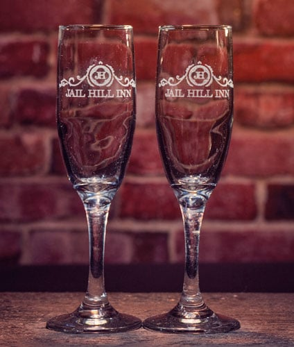 Jail Hill Etched Champagne Flutes