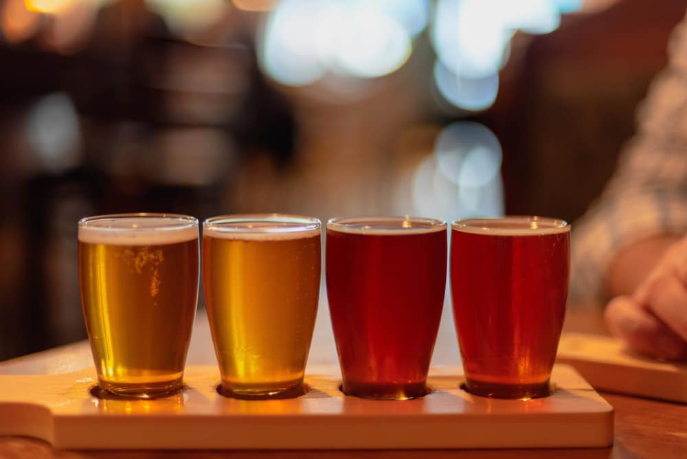 Blaum Bros Distilling isn't the only great place to grab a drink in downtown Galena IL - try this flight of beer at the Galena Brewing Company!